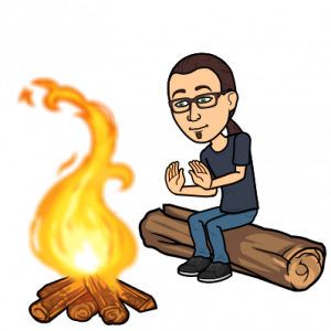 Adam bitmoji sitting by a campfire