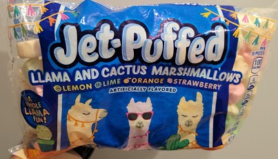 Jet-Puffed Llama and Cactus shaped marshmallows